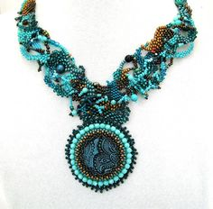 Beadwork necklace, Turquoise, teal Beaded Art Necklace, Freeform peyote necklace, Statement jewelry, Seed bead jewelry