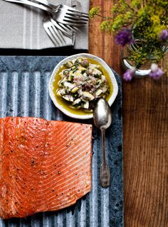 Yummy Supper: SLOW COOKED SALMON WITH MEYER LEMON RELISH - I added a bit of lemon juice on the salmon and some minced garlic at the very end.