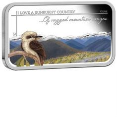 Sunburnt Country - Of ragged mountain ranges 2015 1oz Silver Proof Rectangle Coin