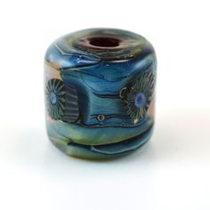 Murrini in Silver Blue Large Hole Handmade Glass Lampwork Bead by GlassyFields on Etsy