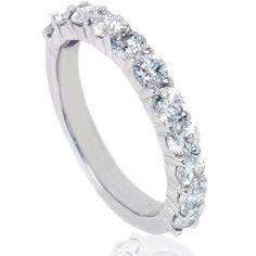 SHOP.COM - 1.60CT Diamond Half Eternity Wedding Ring Anniversary Band 14K White Gold