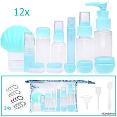 Travel Bottle Set - Refillable - TSA/Airline Approved - 12 Bottles and Jars - 3 Tools (Pipette, Funnel and Mini Spatula) - For Downsized Portions of Your Favorite Cosmetics, Lotions and Creams * See this great product. (This is an affiliate link) Light Up Vanity, Unusual Table Lamps, Best Bath Bombs, Makeup Containers, Hair Removal Machine, Pre Shave, Care Organization, Travel Bottles, Aroma Diffuser