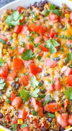 One Pot Mexican Beef and Rice Casserole Hamburger Rice Casserole, Mexican Beef Casserole, Beef Casserole Recipes, Rice Recipes, Meat Recipes, Dinner Recipes, Ground Beef Rice, Beef And Rice, Ground Turkey