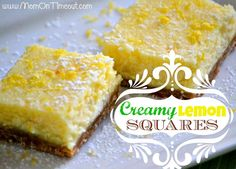 These Creamy Lemon Squares taste just like a lemon cheesecake - so creamy and delicious!| MomOnTimeout.com | #dessert #lemon #recipe
