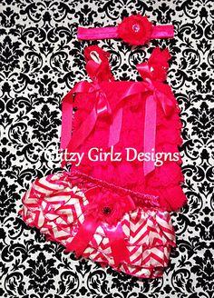 3pc Hot pink and white chevron print lace by GlitzyGirlzDesigns, $38.00