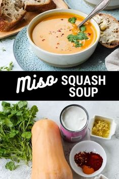 This Roasted Butternut Squash Soup recipe is made with the delicate flavours of coconut, miso, and lime. Silky smooth, this vegan soup recipe is comforting, nourishing, and complex. Veggie Recipes Healthy, Tasty Vegetarian Recipes, Vegan Soups, Coconut Soup, Thai Coconut, Vegetarian Comfort Food, Roasted Butternut Squash Soup, Meal Prep Bowls, Soups And Stews