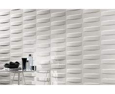 "3D Wall Design ""3D Grid White Glossy 80"" 40 x 80"