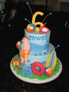 Pool Party Cake | Made this for a little boy's pool party. I… | Flickr
