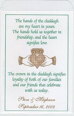 Celtic And Irish Wedding Seed Packet Favors Claddagh Hands With Hearts Personalized Designed