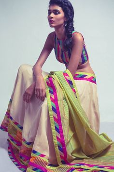 Neeta Lulla saree - very interesting! #colur #neons #saree #indian #traditional #saree