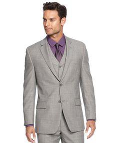 Alfani RED Grey Sharkskin Slim-Fit Jacket