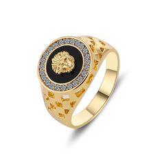 Größe 7-12mm 2016 Neue Ankunft Einzigartiges Design Hight Qualität Reales Gold Überzog Schwarz Mode Männlichen Ring Männer schmuck