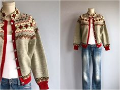 Vintage Norwegian Cardigan / Hand Knit Wool Nordic Fair Isle Patterned Sweater / Heather Grey Brown Red Made in Norway Fair Isle Knitting Patterns, Sweater Knitting Patterns, Hand Knitting, Norwegian Knitting, Nordic Sweater, Viking Knit, Vintage Knitting, Brown And Grey, Crochet