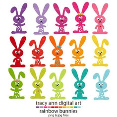 Rainbow Easter Bunny Clip Art  #2014 #Easter #Day #clip art #decor #craft #ideas www.loveitsomuch.com