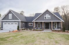 Home house plans one story, exterior paint colors, garage plans, log homes House Paint Exterior, Dream House Exterior, Exterior House Colors, Grey Siding House, Siding Colors, New House Plans, Dream House Plans, Ranch House Plans, Dream Houses