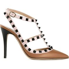 Brand New Authentic Brown Valentino Garavani Pumps Valentine Rockstud Pumps Brown, nude and Black Leather Pumps A pointed Toe A t-bar strap  A side buckle fastening A high stiletto heel Brand Embossed Insole 4 inches Valentino Shoes Heels