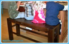 Counter height bench. I don't necessarily want one this clunky but I love that it fits 4 kids.