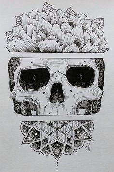 Sugar skull? ❤ Love this drawing! Don't know if you can call this zentangle or if it is a sugar skull...But that doesn't matter! ~ Mathilde Jakobsen ❤