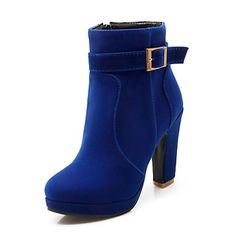 Women's Shoes Fleece Chunky Heel Fashion Boots / Round Toe Boots Dress / Casual Black / Blue / Red - AUD $ 50.04