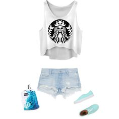 Bleu and white by desrhe-van-hoof on Polyvore featuring polyvore, mode, style, Zara, Vans and JanSport