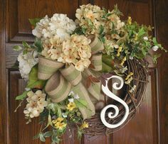 Initial wreath, Summer door wreath, Elegant wreath, Garden wreath, Woodland wreath, Monogram, Summer floral wreath,Door decor, Butterfly
