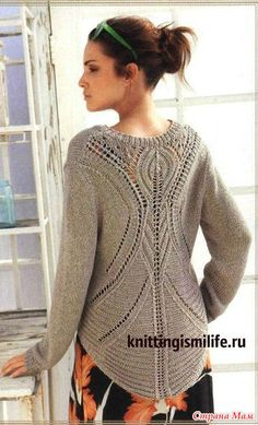 Classic gray-brown pullover with a V-neck and very impressive back, from Lana Grossa. Knitting needles You will need: 500 g of gray-brown yarn Vogue Knitting, Lace Knitting, Knitting Designs, Crochet Clothes, Knitwear, Knit Crochet, Knitting Patterns, Sweaters For Women, Cardigans