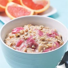 Perk up your morning oatmeal with the addition of tangy rhubarb. Using milk for this oatmeal gives it a calcium boost, but the recipe also works well with water--and you'll save about 60 calories.