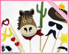 Photo Booth Props - Our RIDE EM COLLECTION includes 12 Western Themed Photo Booth Props, great for weddings, birthdays, parties and more. $40.00, via Etsy.