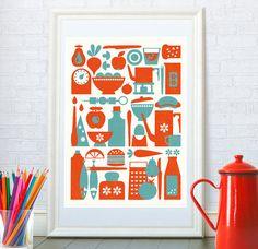 Scandinavian design, Kitchen print, Mid century modern, Kitchen art, Retro poster, Retro kitchen, Pop art