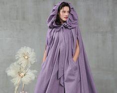 Hooded wool cloak in black maxi wool coat maxi wool cape Yellow Maxi, Grey Maxi, Black Maxi, Hooded Wool Coat, Hooded Cloak, Renaissance, Wedding Cape, Bridal Cape, Cashmere Cape