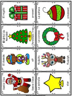 Loteria Navidena Loteria Navidena is very similar to Bingo. It includes 40 cards to draw from and 25 playing cards. Preschool Spanish Lessons, Spanish Class, Mexican Christmas Traditions, File Folder Activities, School Worksheets, Diy Cards, Bingo, Scrapbook, Holiday Ideas