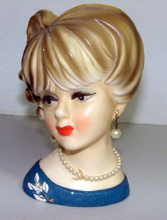Vintage Collectible Napcoware Head Vase C7472 w/Pearl Necklace, Earrings, Brooch in Pottery & Glass | eBay