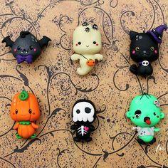 halloween charm collection. #ghost #pumpkin #zucca #blackcat #zombie #glowinthedark #fimo #jackolantern #vampire #kawaii #polymerclay #spooky #isa_handmade #handcraft #charm #pendant