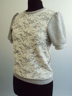 My Refashion Friday Inspiration: Lace Overlay Sweatshirt Top-- loving it!!