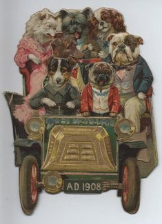 tuck calendar,	DOGS-UP-TO-DATE AD 1908 three dimensional fold-out with dogs in car and folds towards the right, calendar months July to December under front grill which lifts up, also comes with car folded towards the left