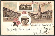 old postcard: Lithographie Komotau / Chomutov, Bräuhaus Restaurant, K. k. Lehrer-Bildungsanstalt, Marktplatz