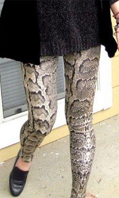 East Coast Beige Black Grey Snakeskin Python Stretch Knit Leggings