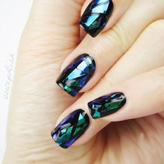 """화려한 Shattered Glass Nails! Korea's hottest nail trend. DIY video on my YouTube. Check bio for link! """