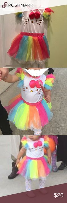 Hello Kitty Costume Dress Worn once for trick or treat.                                                         Does not come with the Kitty ear headband. My daughter loved it too much, she wore it everyday☺️ Sanrio Costumes Halloween