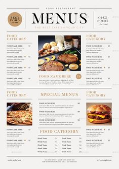 Buy SImple Food Menus by guper on GraphicRiver. A Simple Food Menus come with 3 optional designs Features ( CMYK 300 DPi Print ready Well organized l. Cafe Menu Design, Menu Card Design, Restaurant Menu Design, Restaurant Recipes, Restaurant Identity, Stationery Design, Food Menu Design, Food Poster Design, Carta Restaurant