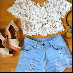 lace crop top and high-waisted shorts #follow me on pintrest @ Little Ms.Curly