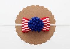 Fourth of July Bow // Felt Fabric Bow Headband // White with Red and Blue // Headband or Clip // Babies to Adults