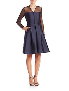 Akris Sheer-Illusion Silk Shantung Dress