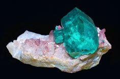 Crystal of dioptase on brown quartz matrix. Source:  Tsumeb Mine in Tsumeb, Namibia.