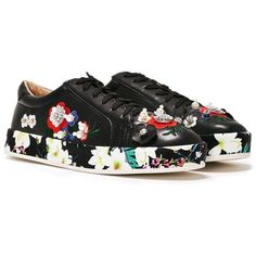 Nasty Gal She Said Bloom Embellished Sneaker (660 CZK) ❤ liked on Polyvore featuring shoes, sneakers, black, multicolor sneakers, floral print sneakers, faux leather sneakers, multi color shoes and black floral shoes