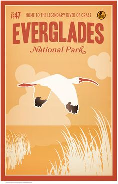 "Vintage Travel Poster -  - Everglades National Park was established in 1947, home to the legendary ""River of Grass""."