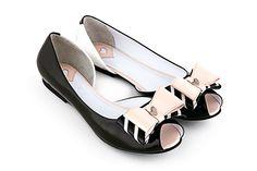"LalaLove Signature Shoes. ""Tie Line Black"" flats. Geometric Fantastic World collection."