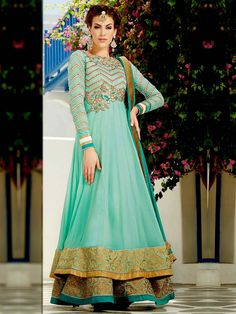 Double Layered Anarkali Suit on georgette decorated with shiny zari work. Item Code: SLANA713 http://www.bharatplaza.com/new-arrivals/salwar-kameez.html