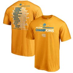 31.99 Men s Golden State Warriors Fanatics Branded Gold 2018 Western  Conference Champions Backcourt Roster T- a154568c302
