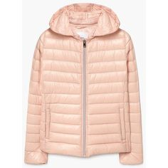 Feather Down Hooded Coat (905 EGP) ❤ liked on Polyvore featuring outerwear, coats, pink hooded coat, zip coat, hooded coat, quilted coat and down filled coat
